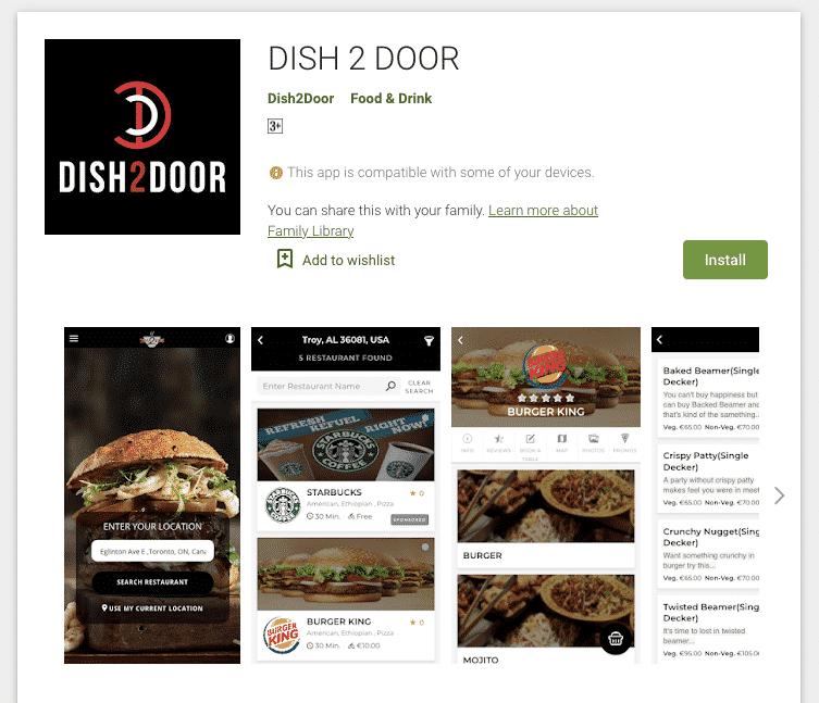 dish2door playstore app