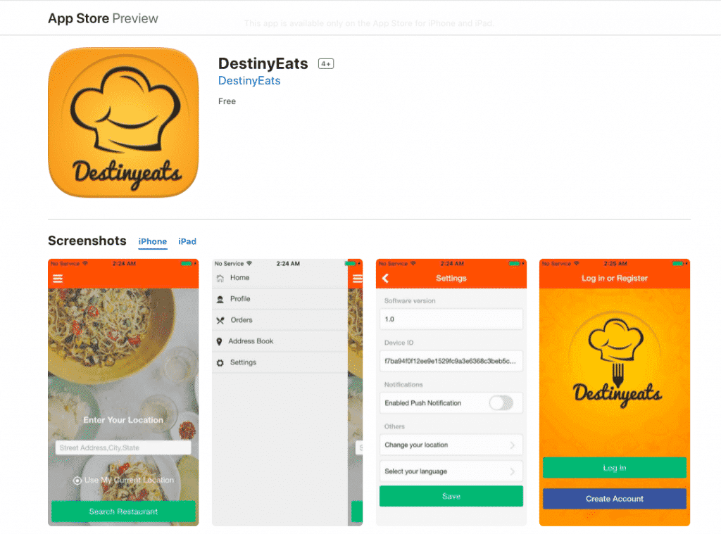 destinyeats app- socialadfunnel